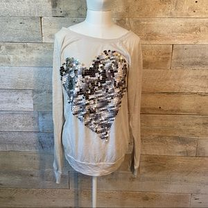 🛍3/$25 Express sequinned heart long-sleeved top